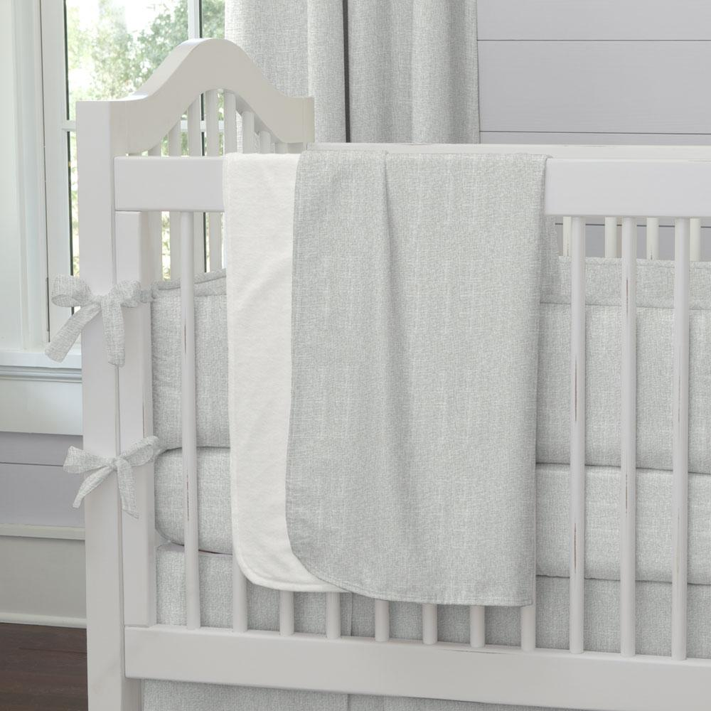 Product image for Silver Gray Linen Baby Blanket