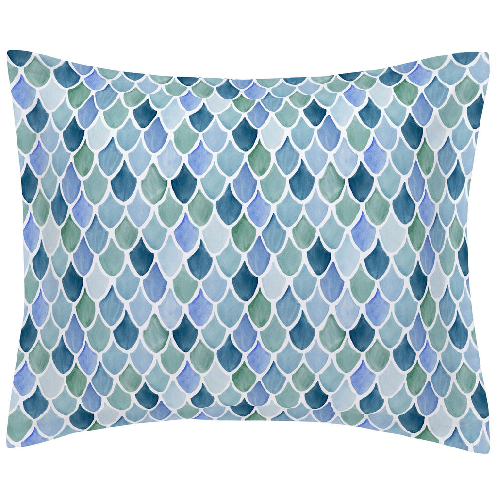 Product image for Blue Watercolor Scales Pillow Sham