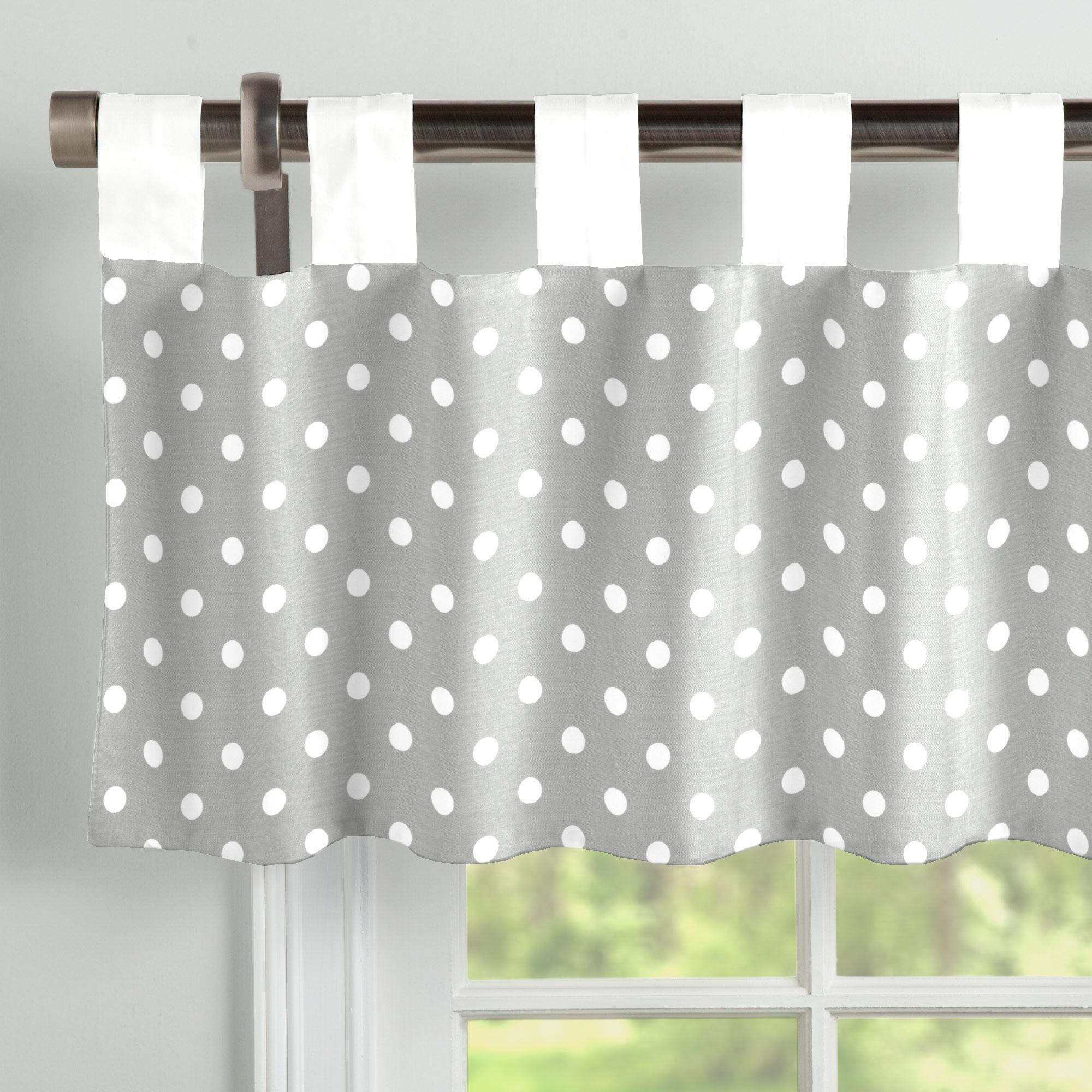 Gray And White Polka Dot Window Valance Tab Top Carousel Designs