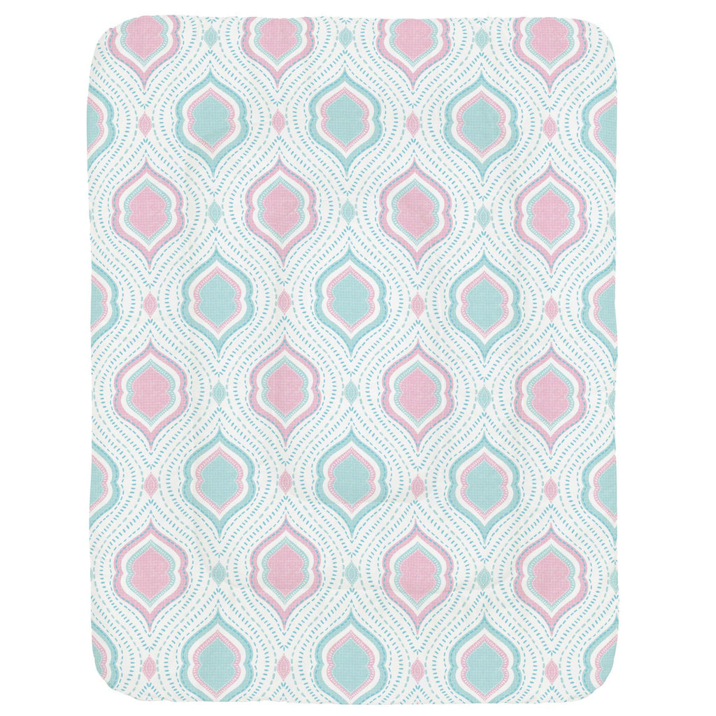 Product image for Seafoam Aqua and Pink Moroccan Damask Crib Comforter