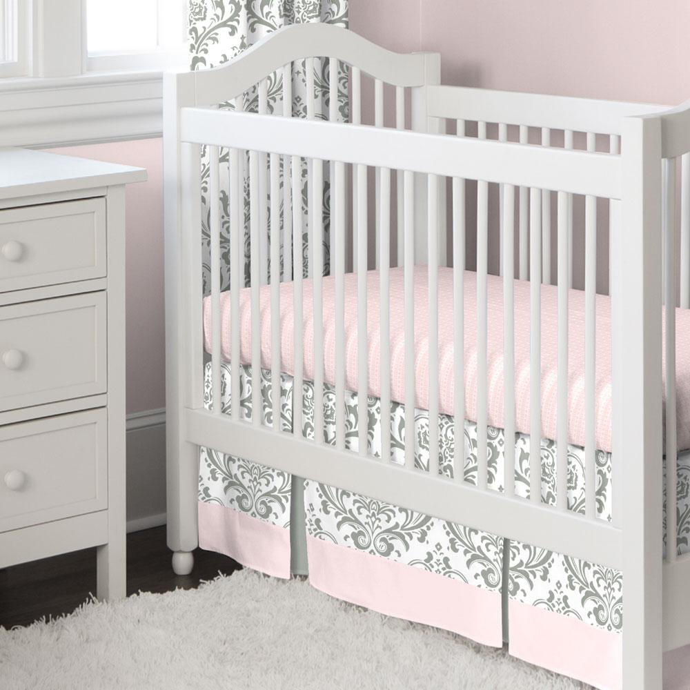 Product image for Pink and Gray Traditions Damask Crib Skirt Two-Pleat with Trim