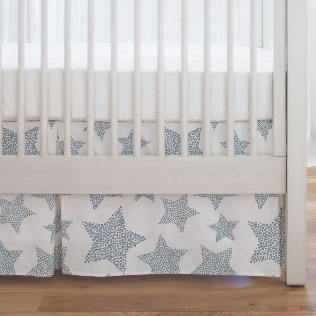 Product image for Steel Blue Galaxy Stars Crib Skirt Single-Pleat
