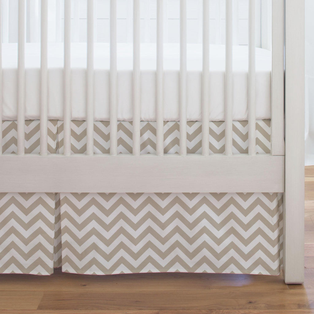 Product image for Taupe Zig Zag Crib Skirt Single-Pleat