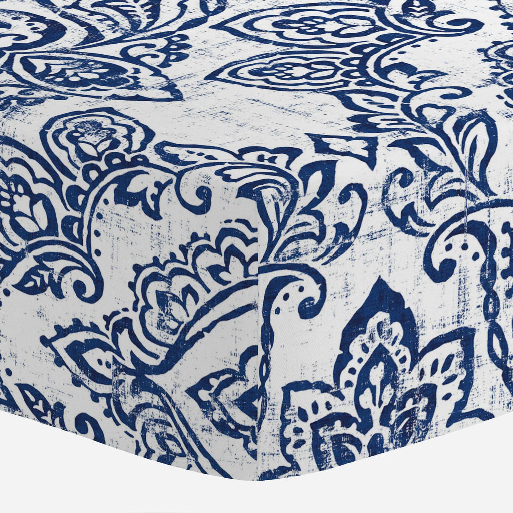 Product image for White and Navy Vintage Damask Crib Sheet