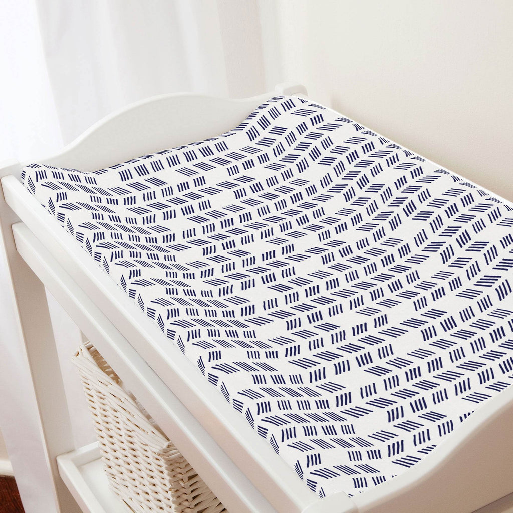 Product image for Windsor Navy Tribal Herringbone Changing Pad Cover