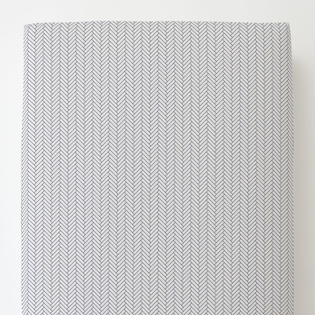 Product image for White and Navy Classic Herringbone Toddler Sheet Bottom Fitted