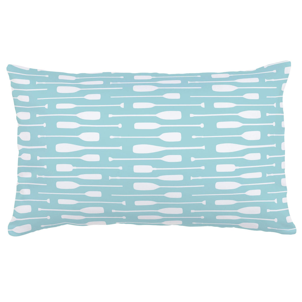 Product image for Seafoam Aqua and White Oars Lumbar Pillow