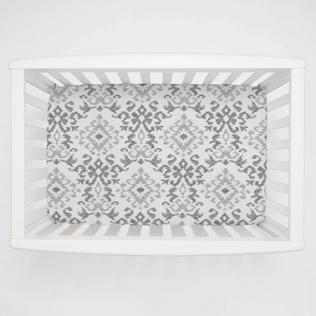 Product image for Gray Ikat Damask Mini Crib Sheet