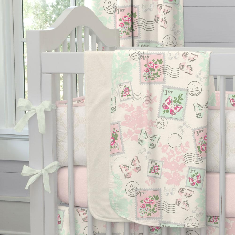 Product image for Blush and Ivory Vintage Stamp Baby Blanket