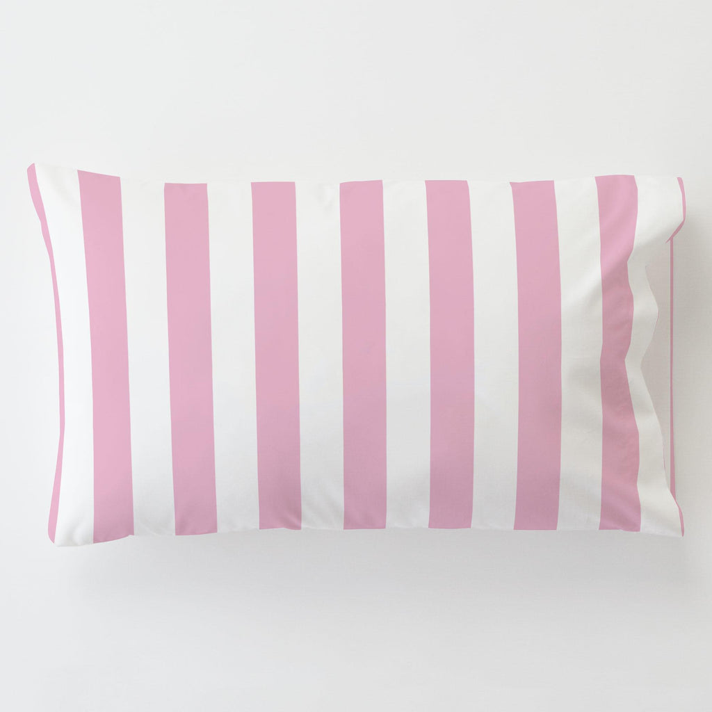 Product image for Bubblegum Pink Stripe Toddler Pillow Case with Pillow Insert