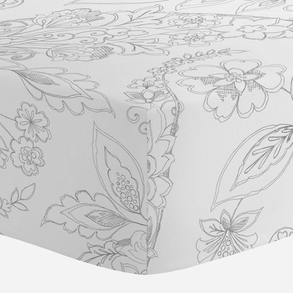 Product image for Cloud Gray Sketchbook Floral Crib Sheet
