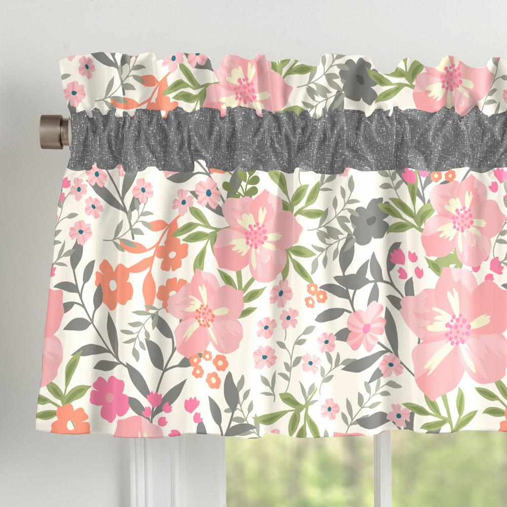 Product image for Pink and Orange Floral Tropic Window Valance