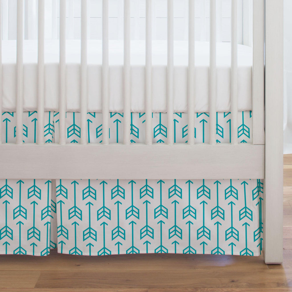 Product image for Teal Arrow Crib Skirt Single-Pleat