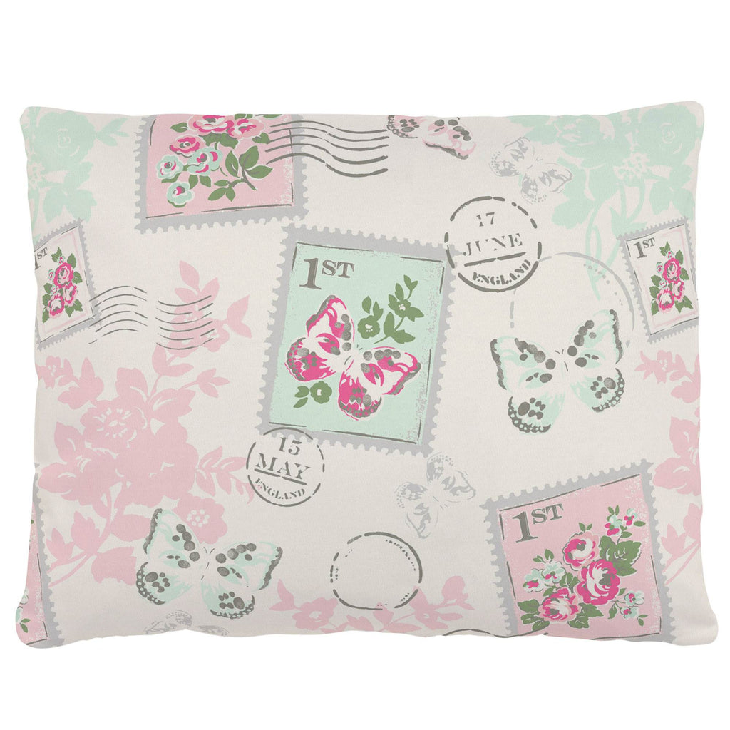 Product image for Blush and Ivory Vintage Stamp Accent Pillow