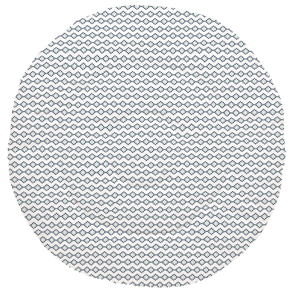 Product image for Navy and Mint Diamond Dot Baby Play Mat