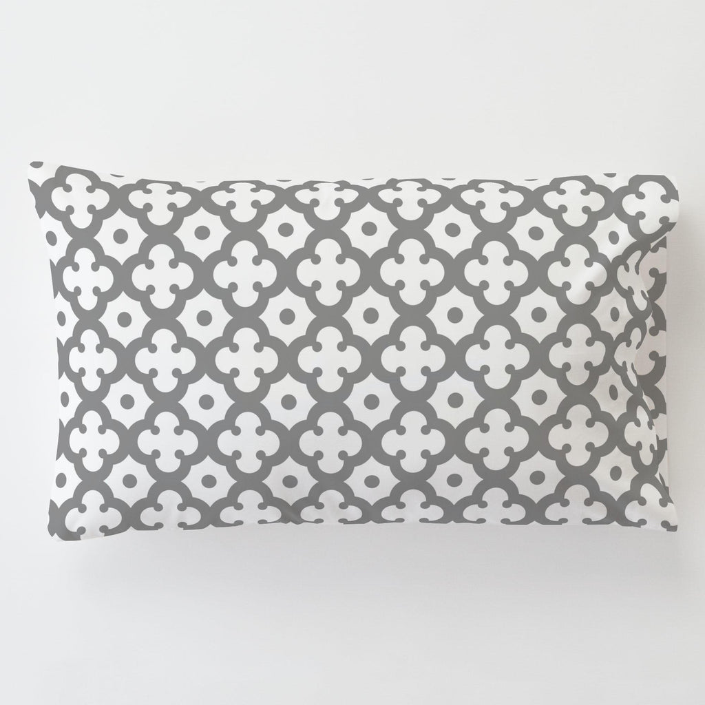 Product image for Cloud Gray Moroccan Tile Toddler Pillow Case with Pillow Insert
