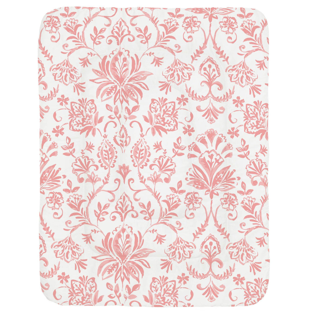 Product image for Coral Pink Coastal Damask Crib Comforter
