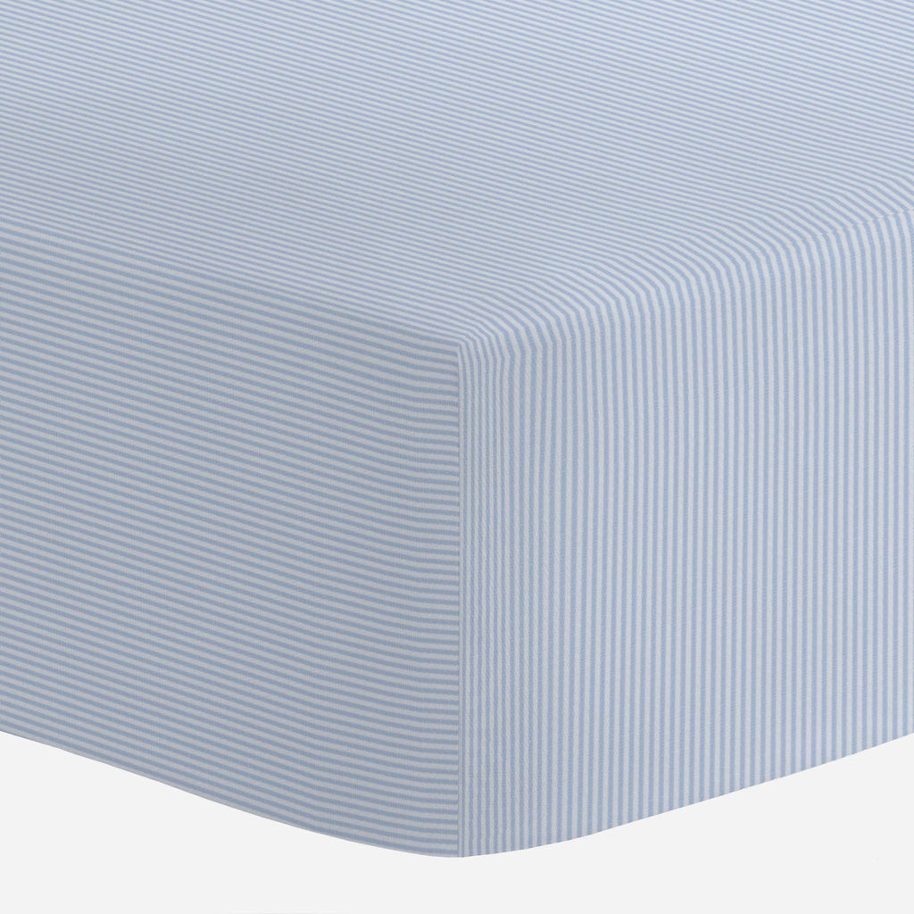 Product image for Blue Mini-Stripe Crib Sheet