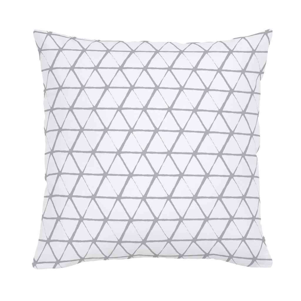 Product image for White and Silver Gray Aztec Triangles Throw Pillow