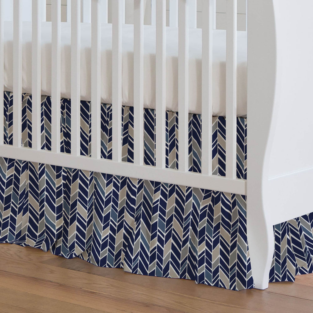 Product image for Taupe and Windsor Navy Herringbone Crib Skirt Gathered