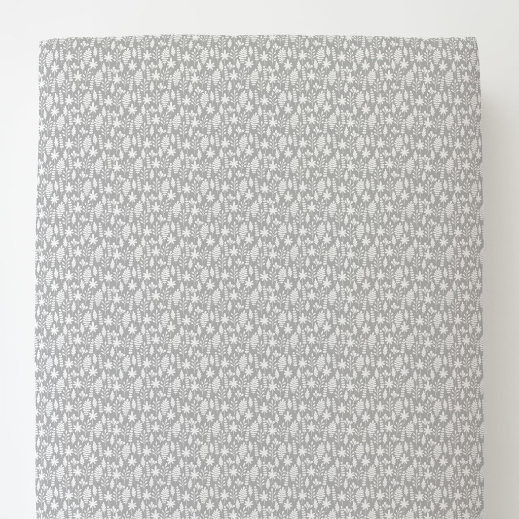 Product image for Gray and White Ferns Toddler Sheet Bottom Fitted