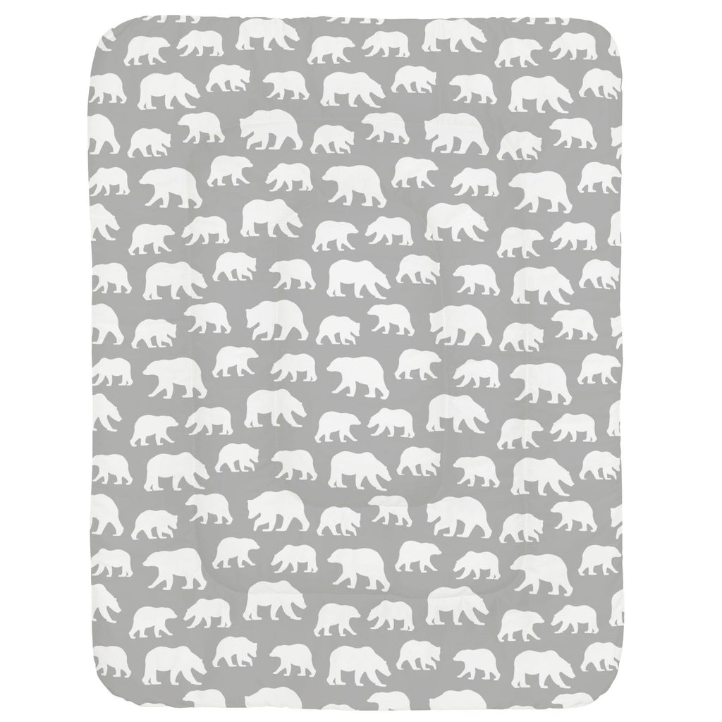 Product image for Silver Gray and White Bears Crib Comforter