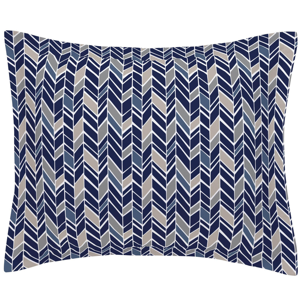 Product image for Taupe and Windsor Navy Herringbone Pillow Sham