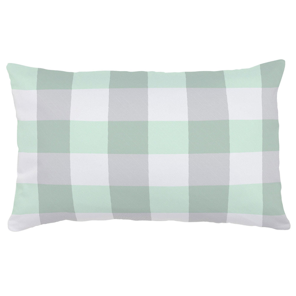 Product image for Mint and Gray Buffalo Check Lumbar Pillow
