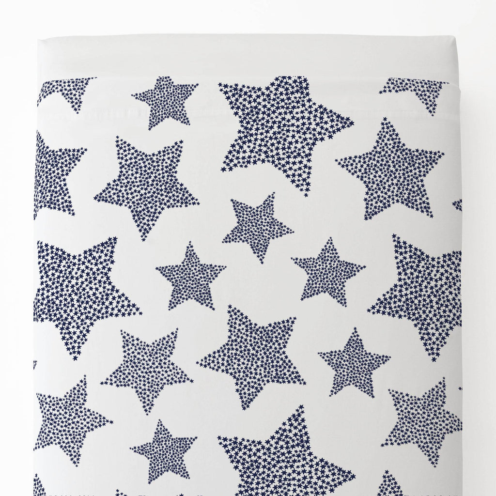 Product image for Navy Galaxy Stars Toddler Sheet Top Flat