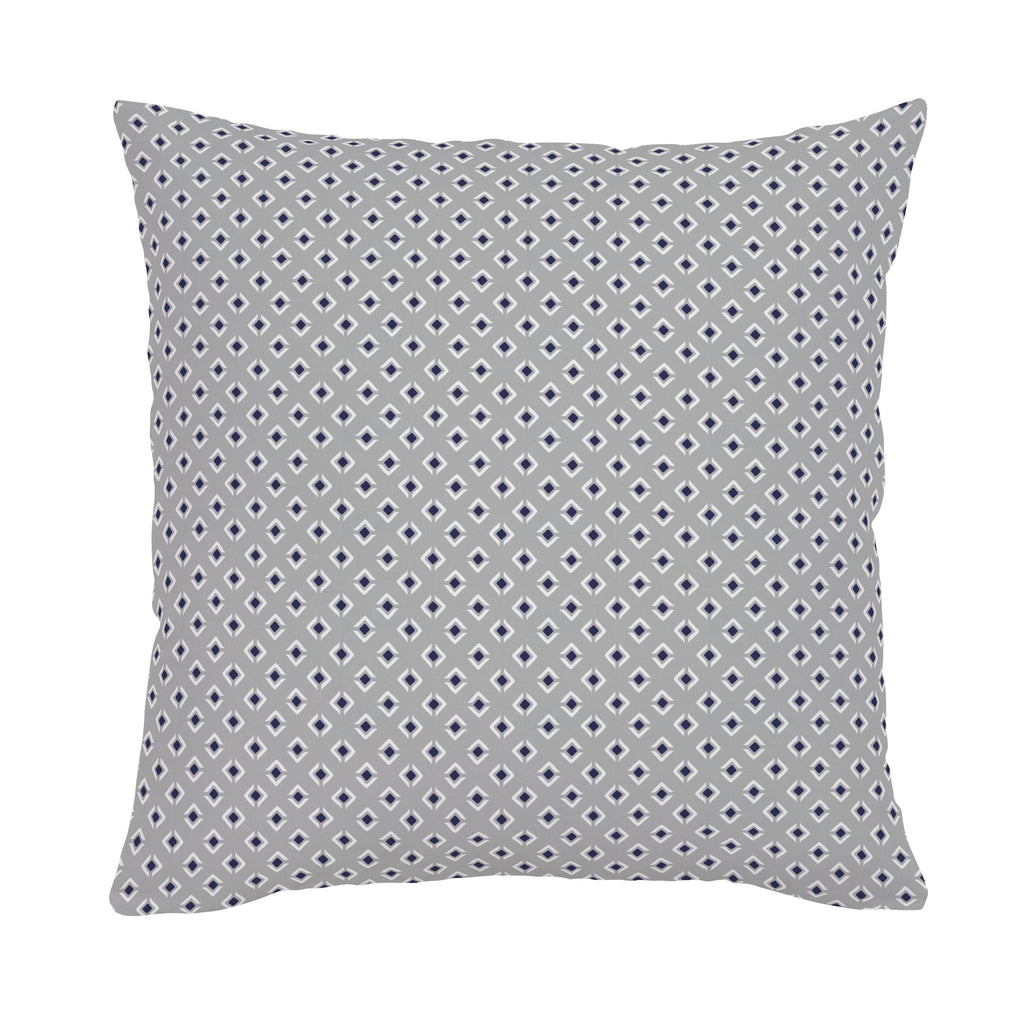 Product image for Silver Gray and Navy Diamond Throw Pillow