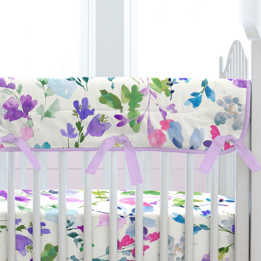 Carousel Designs Moody Floral Crib Rail Cover with Piping