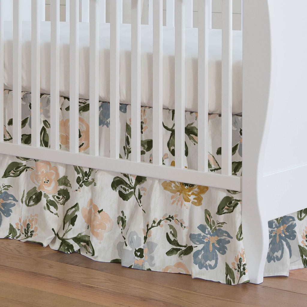 Product image for Blush Garden Crib Skirt Gathered