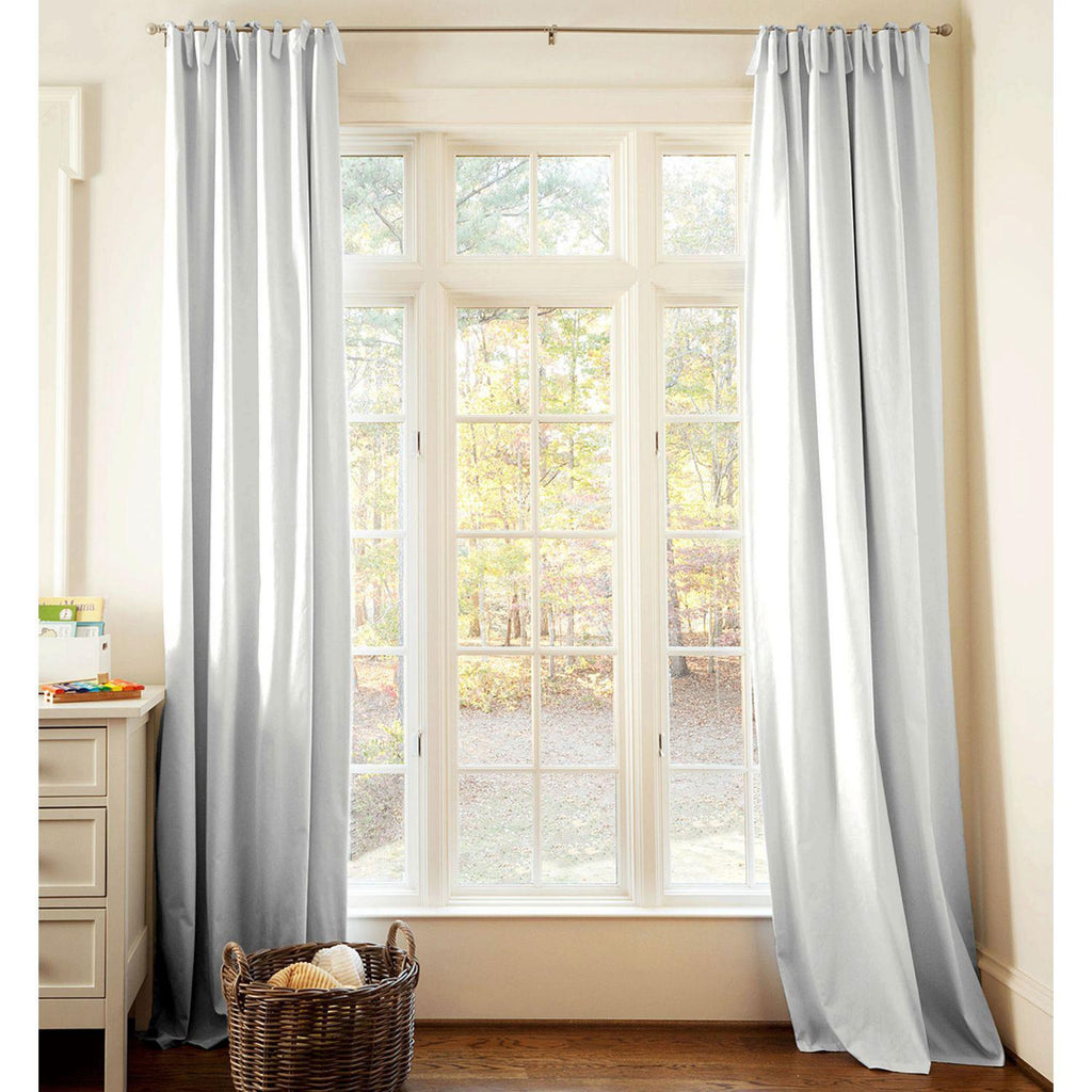 Product image for Solid Silver Gray Drape Panel with Ties