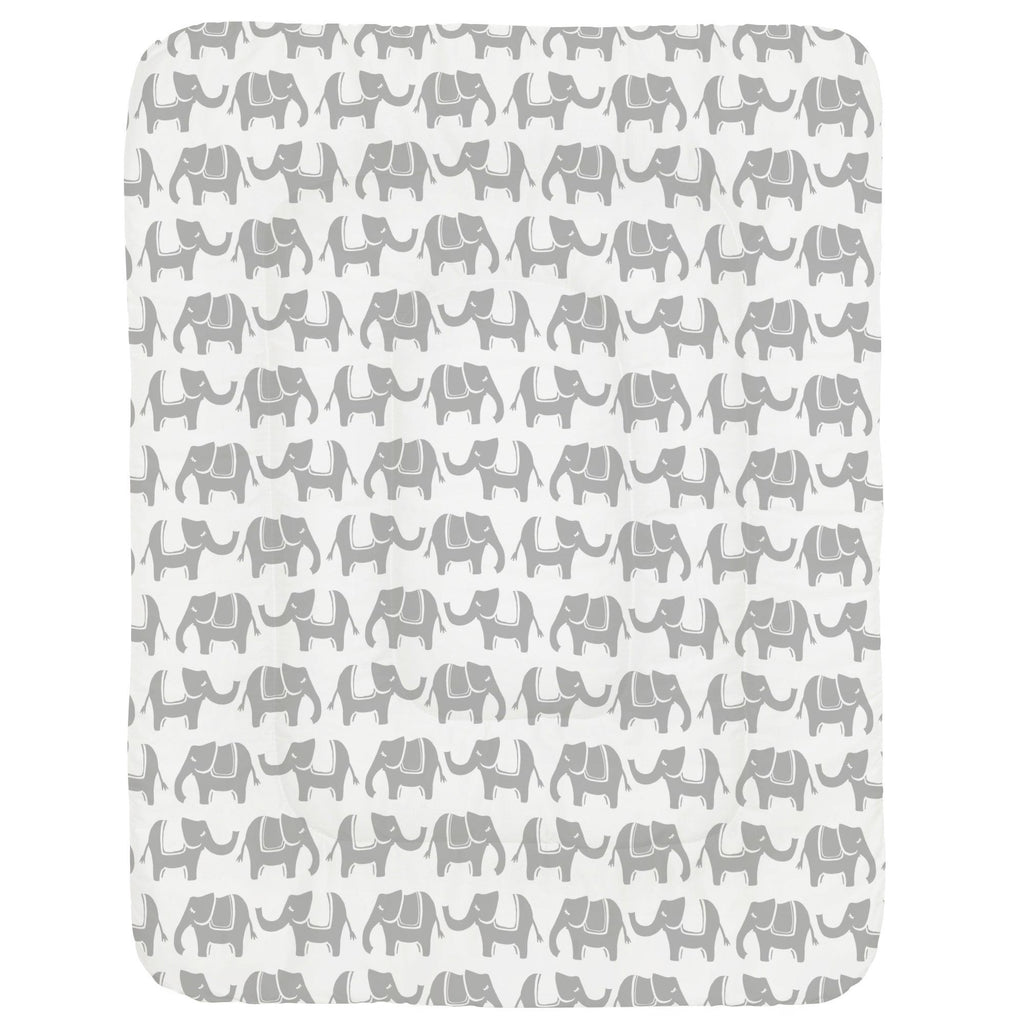 Product image for Silver Gray Marching Elephants Crib Comforter
