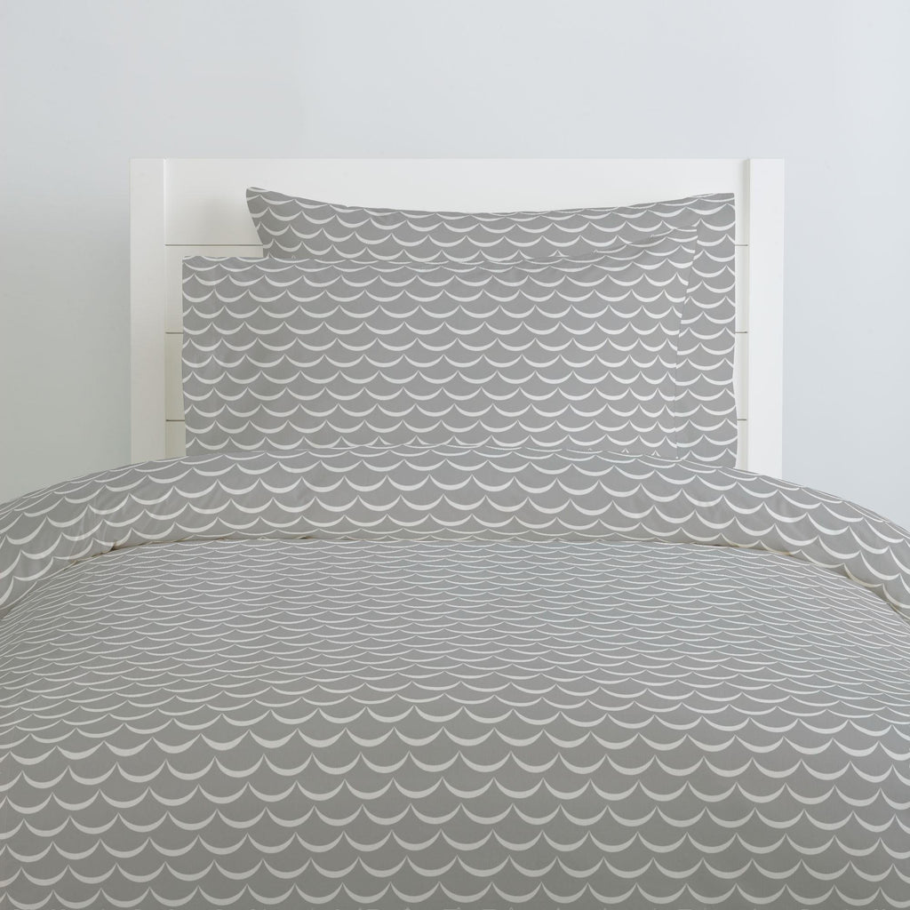 Product image for Silver Gray Waves Duvet Cover