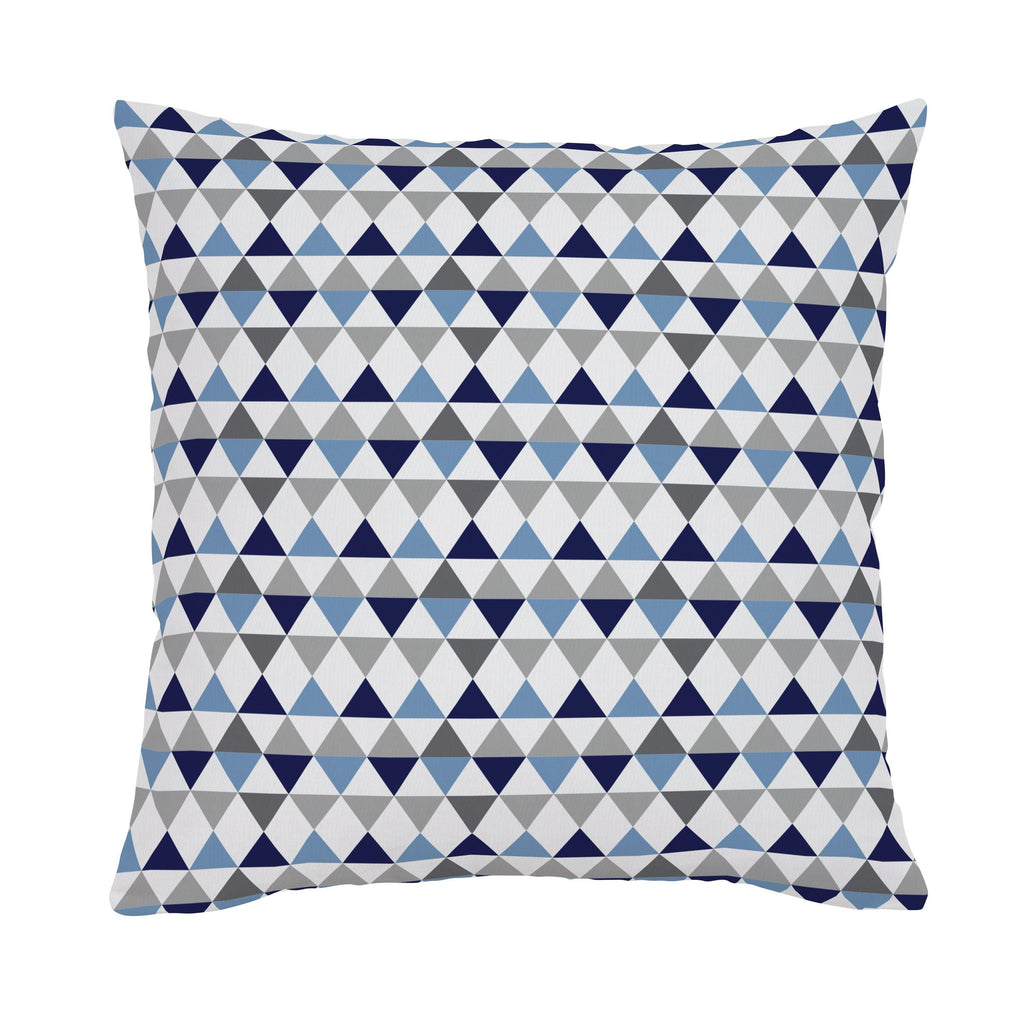Product image for Gray and Blue Triangles Throw Pillow