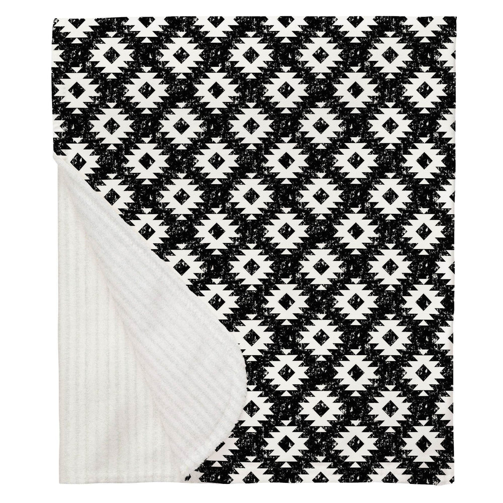 Product image for Onyx and White Aztec Baby Blanket