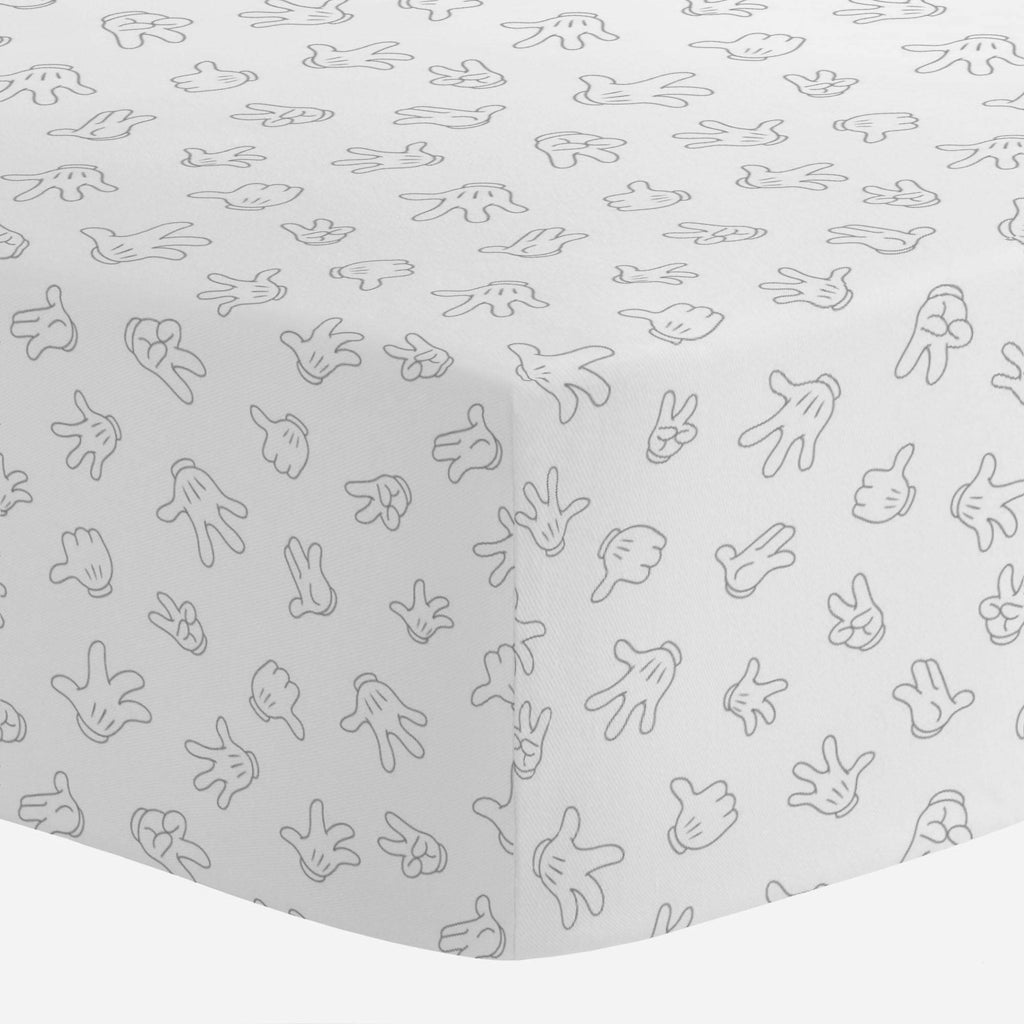Product image for Disney© Gray Mickey Gloves Crib Sheet