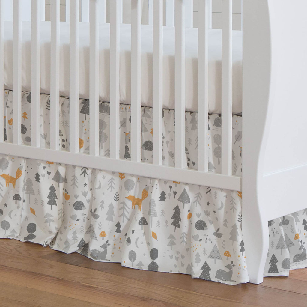 Product image for Light Orange and Silver Gray Baby Woodland Crib Skirt Gathered