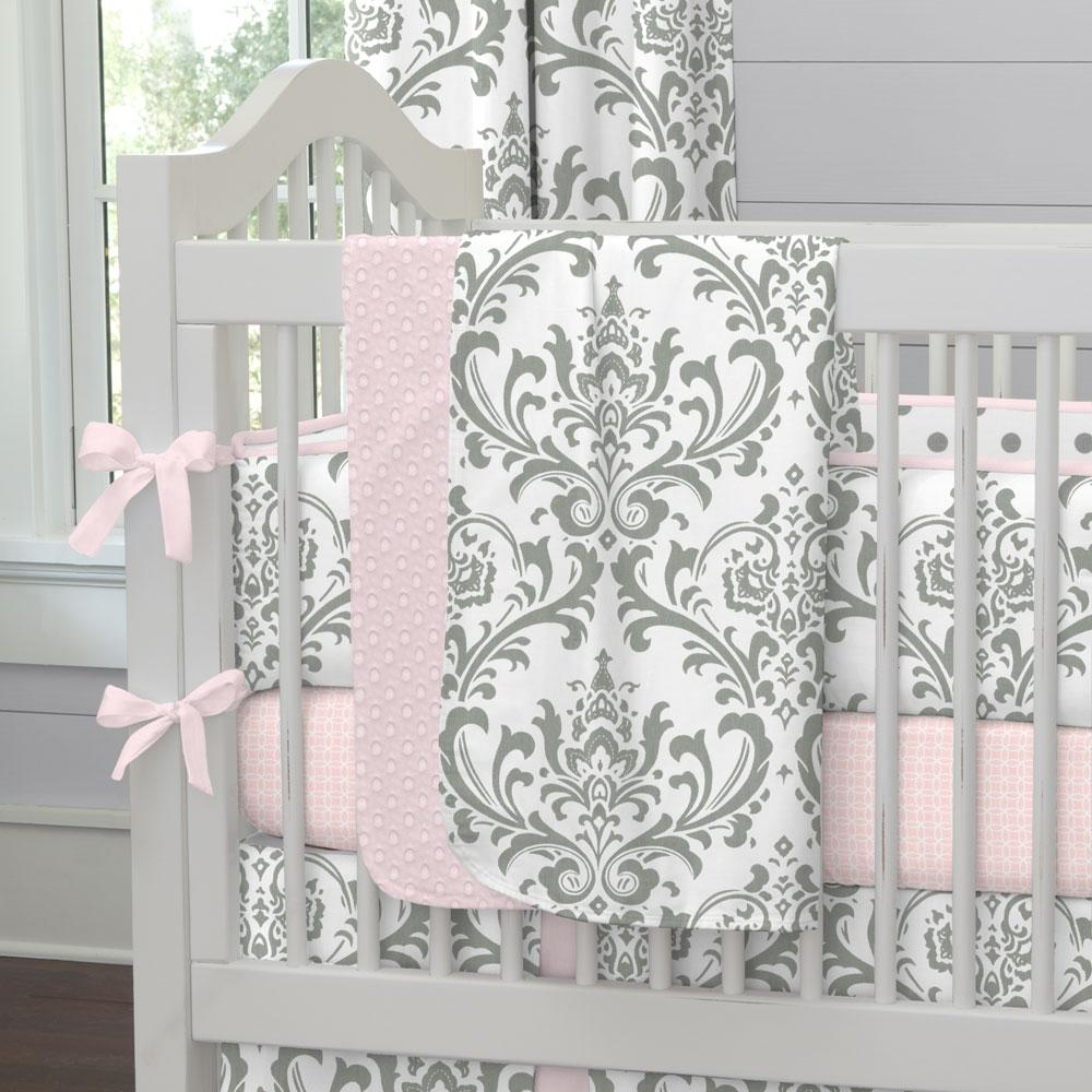 Product image for Pink and Gray Traditions Damask Baby Blanket