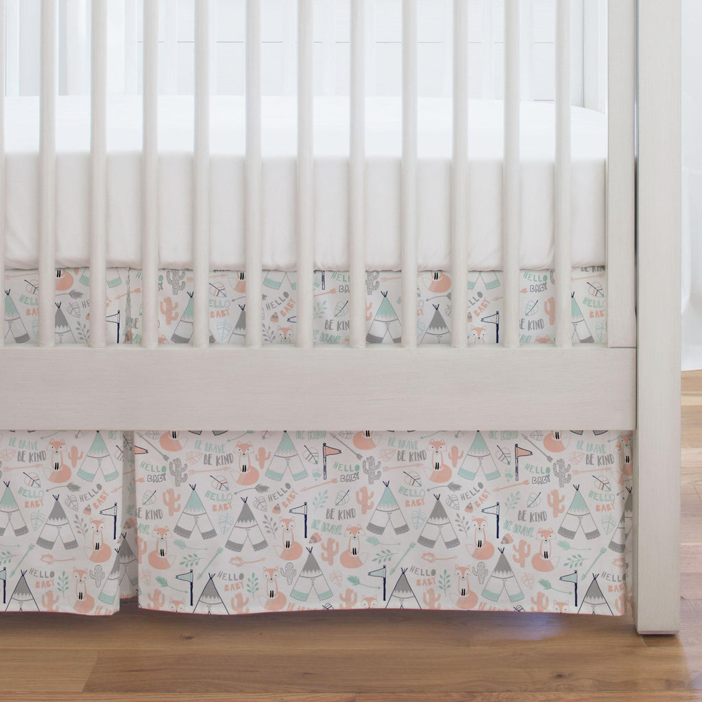 Product image for Peach Brave Fox Crib Skirt Single-Pleat