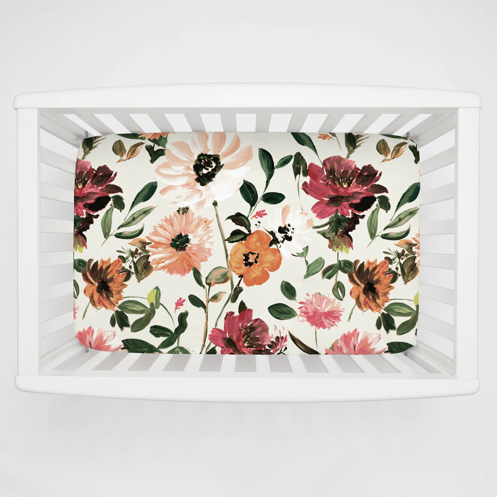 Product image for Moody Floral Mini Crib Sheet