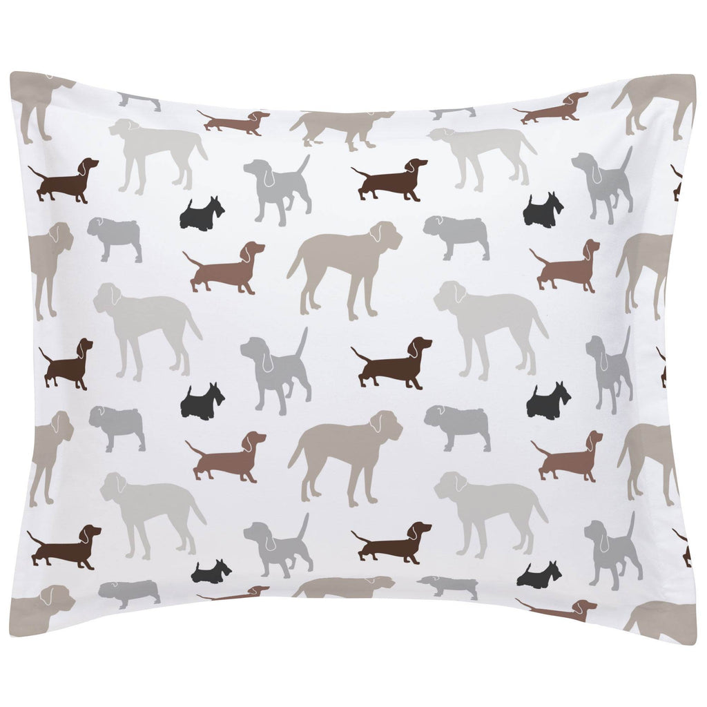 Product image for Brown and Gray Dogs Pillow Sham