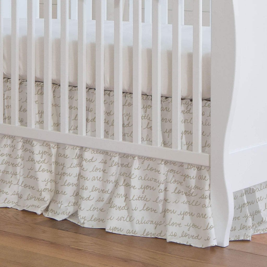 Product image for Taupe Love Words Crib Skirt Gathered