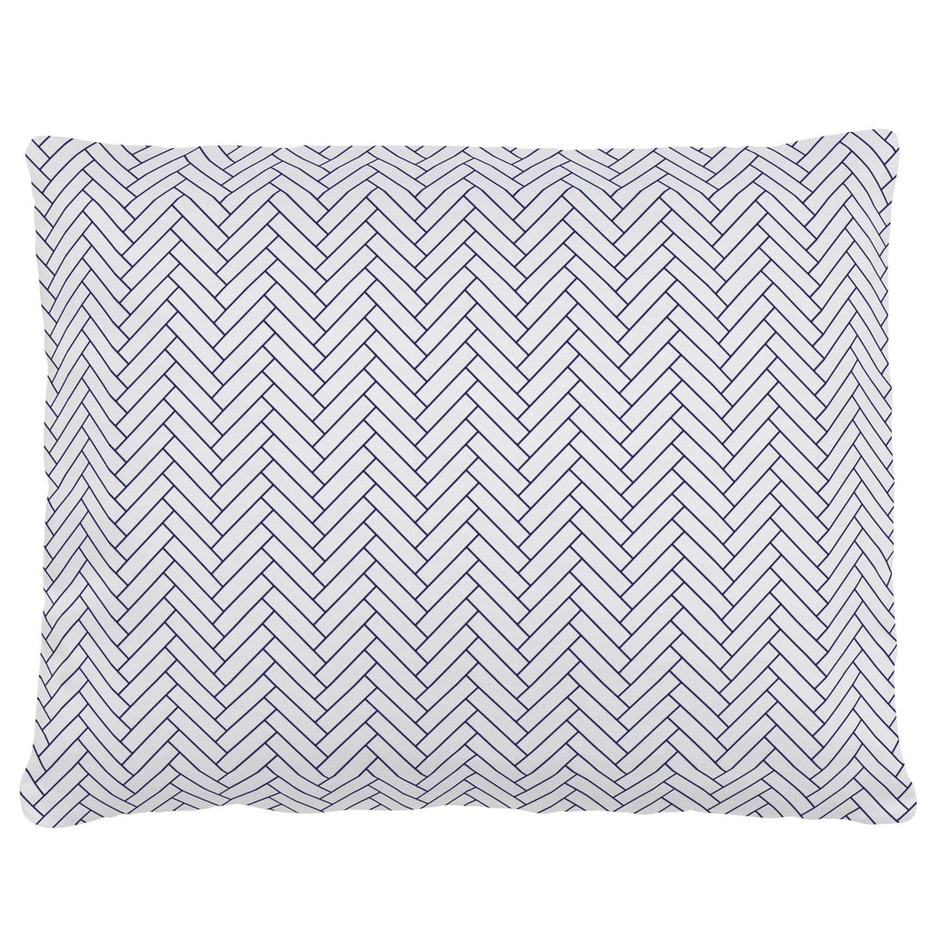 Product image for White and Navy Classic Herringbone Accent Pillow