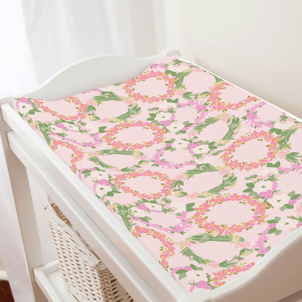 Product image for Pink and Coral Floral Wreath Changing Pad Cover