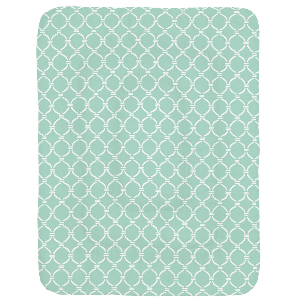 Product image for Mint and White Lattice Circles Crib Comforter