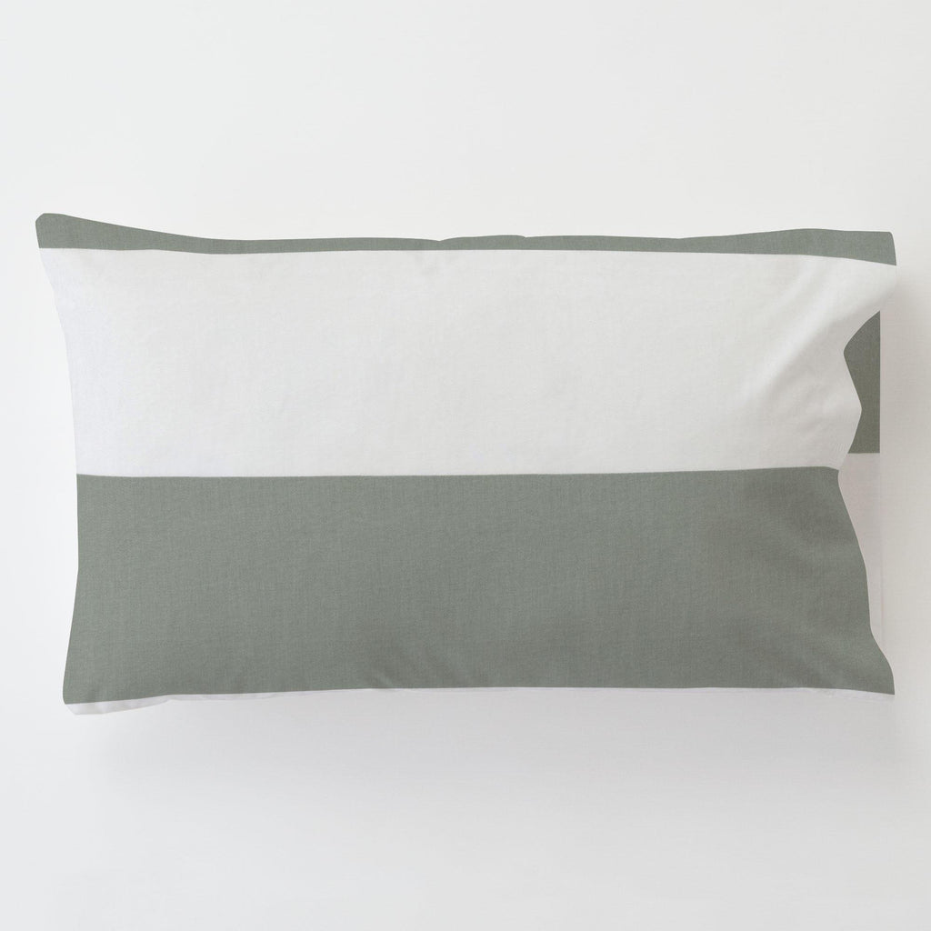 Product image for Cloud Gray Horizontal Stripe Toddler Pillow Case with Pillow Insert