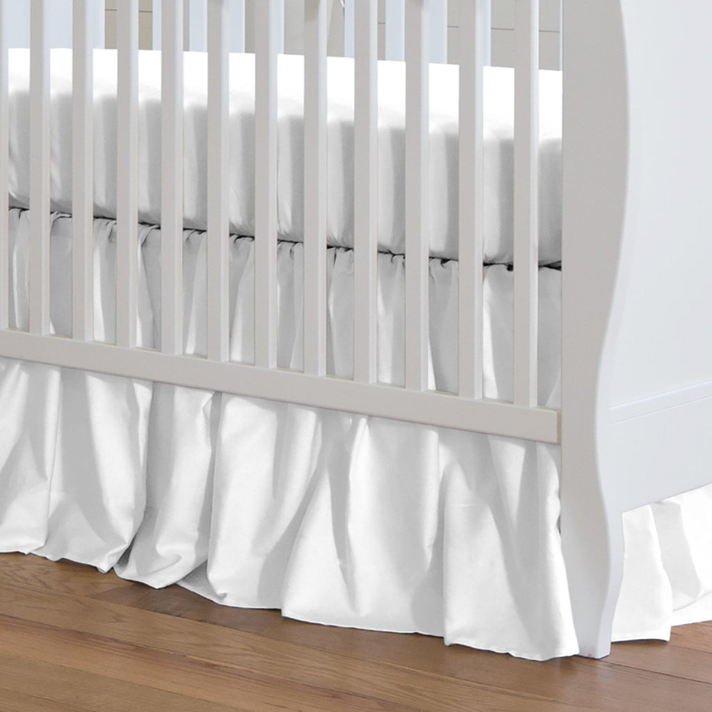 Product image for Solid White Crib Skirt Gathered