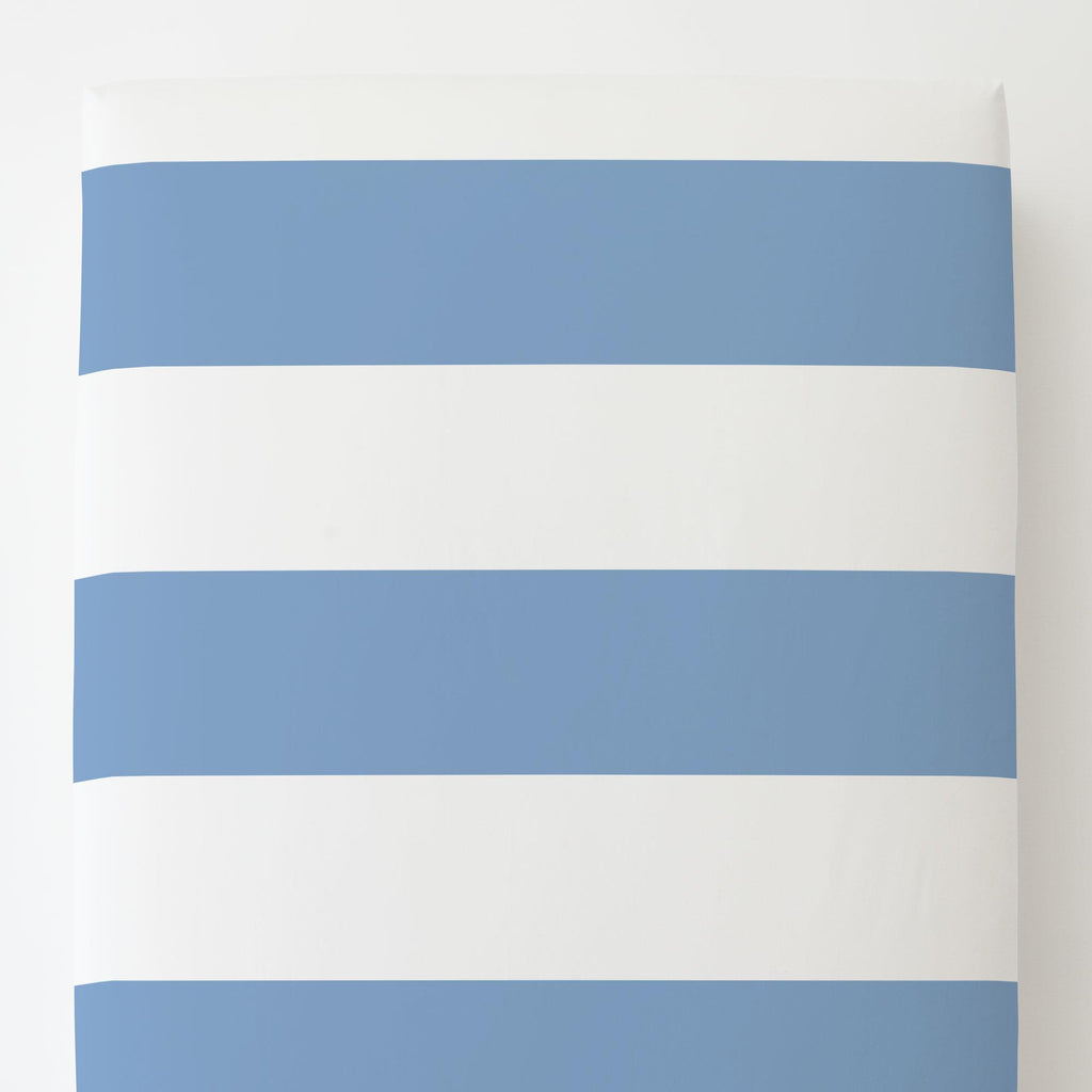 Product image for Sky Blue Horizontal Stripe Toddler Sheet Bottom Fitted